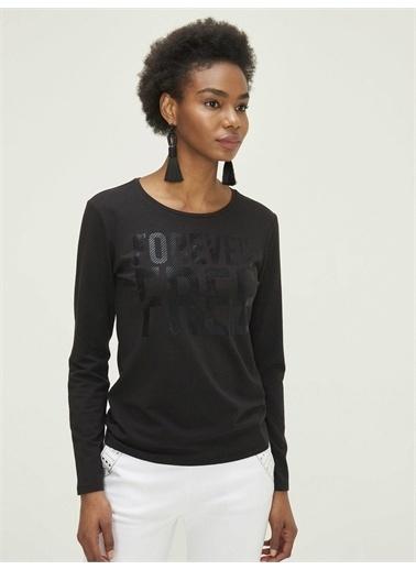 Xint XINT Yuvarlak Yaka Baskılı Modal Rahat Kesim Tişört Siyah